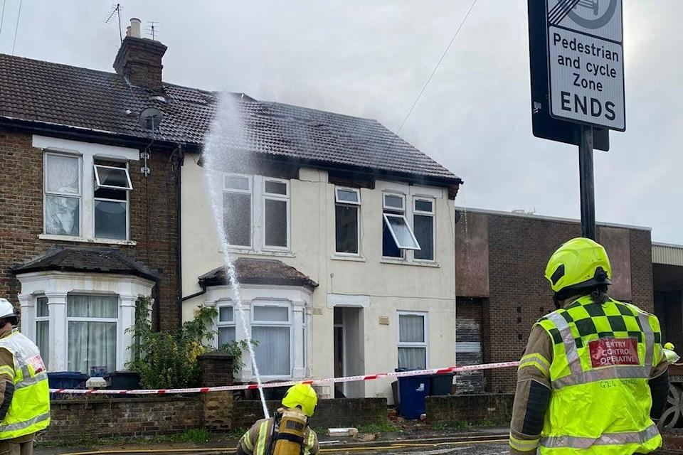 The London Fire Brigade dampen down the house in Southall  (LFB)
