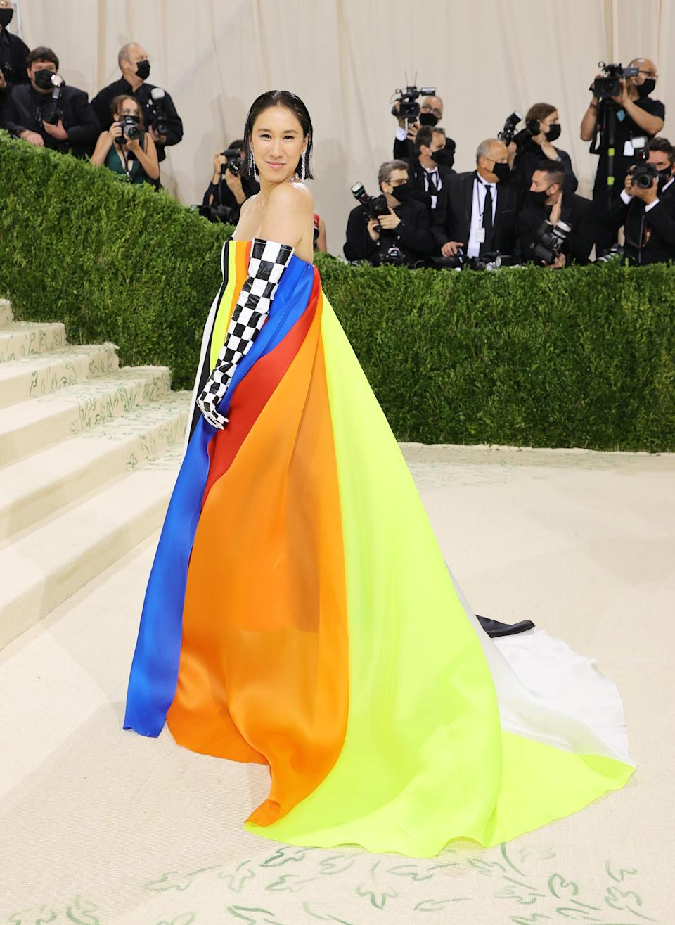 """<h2>Eva Chen wearing Christopher John Rogers</h2><br>Instagram's fashion boss Eva Chen is making 2019 CFDA/<em>Vogue</em> Fashion Fund winner Christopher John Rogers proud in this eye-catching ensemble. <span class=""""copyright"""">Photo by Mike Coppola/Getty Images.</span>"""