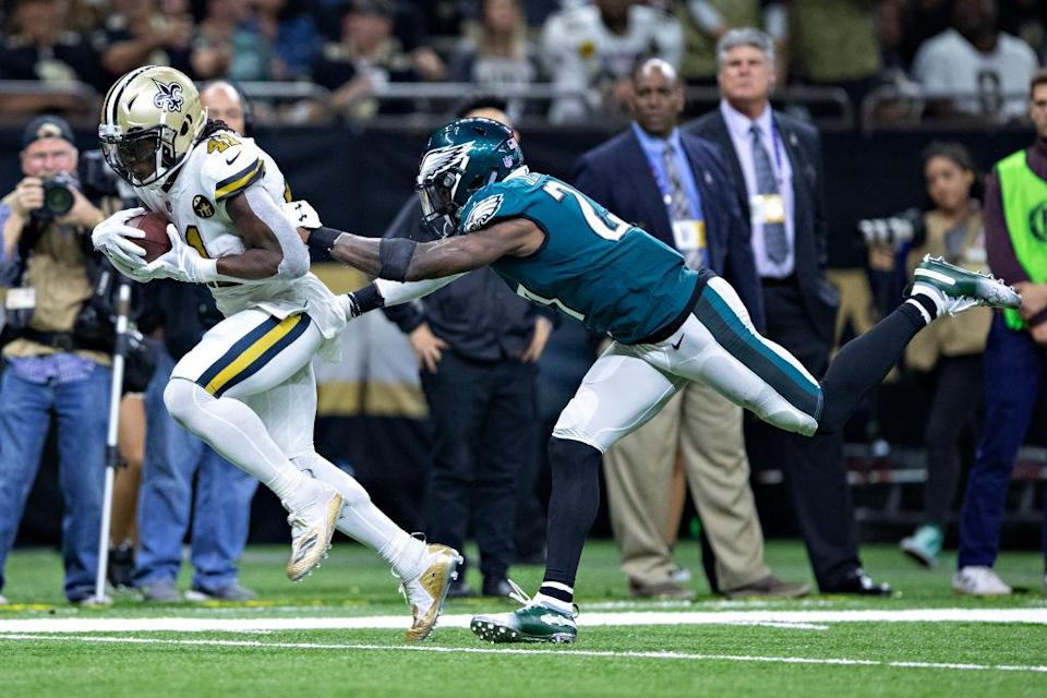 Alvin Kamara and the Saints dusted Malcolm Jenkins and the Eagles last week. (Getty)