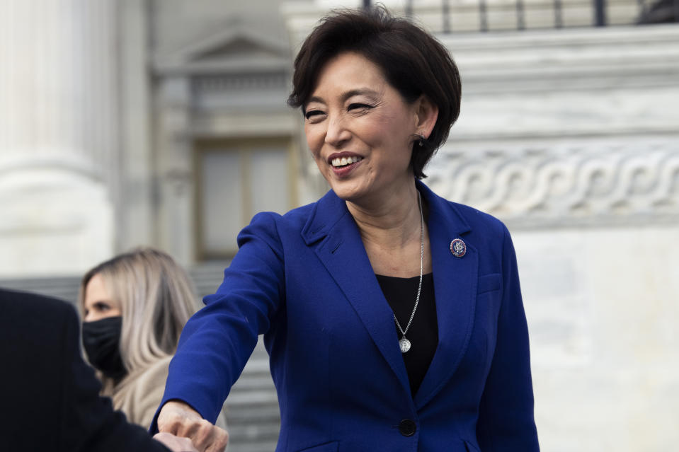 UNITED STATES - JANUARY 4: Rep. Young Kim, R-Calif., is seen during a group photo with freshmen members of the House Republican Conference on the House steps of the Capitol on Monday, January 4, 2021. (Photo By Tom Williams/CQ-Roll Call, Inc via Getty Images)