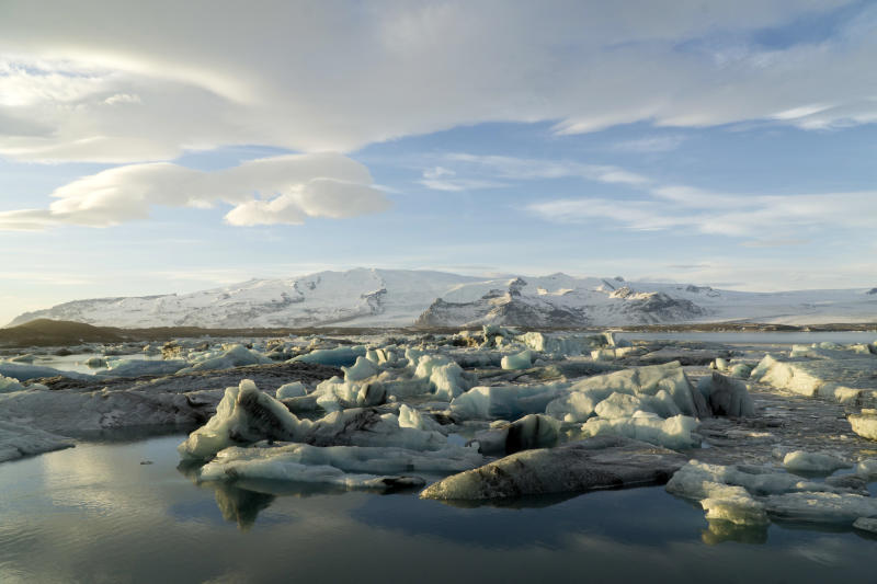 The Jokulsarlon glacial lagoon at the foot of the Oraefajokull volcano on Thursday, Nov. 30, 2017. The Oraefajokull volcano, dormant since its last eruption in 1727-1728, has seen a recent increase in seismic activity and geothermal water leakage that has worried scientists. With the snow hole on Iceland's highest peak deepening 18 inches (45 centimeters) each day, authorities have raised the volcano's alert safety code to yellow. (AP Photo/David Keyton)