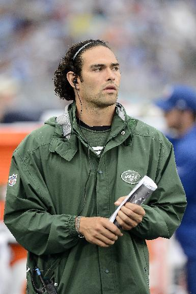 New York Jets quarterback Mark Sanchez watches from the sideline in the third quarter of an NFL football game against the Tennessee Titans on Sunday, Sept. 29, 2013, in Nashville, Tenn. (AP Photo/Mark Zaleski)