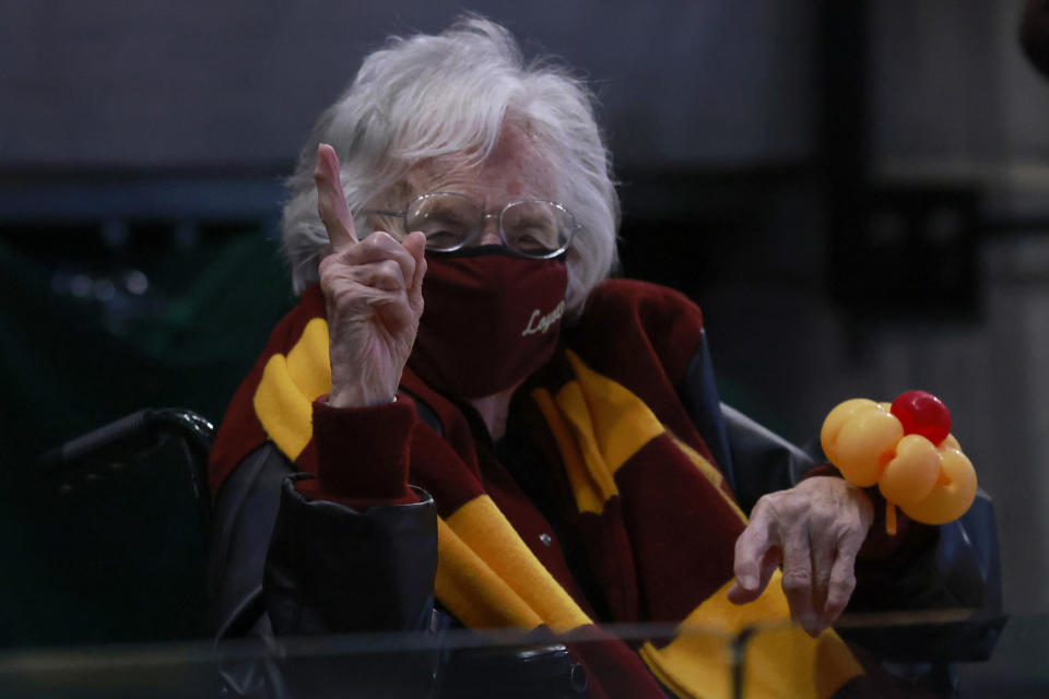 INDIANAPOLIS, INDIANA - MARCH 21: Sister Jean celebrates the Loyola-Chicago Ramblers win over the Illinois Fighting Illini in the NCAA Basketball Tournament second round at Bankers Life Fieldhouse on March 21, 2021 in Indianapolis, Indiana. (Photo by Justin Casterline/Getty Images)