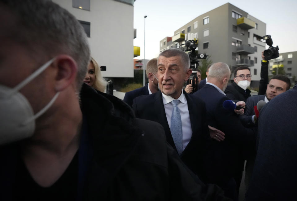 Czech Republic's Prime Minister and leader of centrist ANO (YES) movement Andrej Babis arrives at his election headquarters, Prague, Czech Republic, Saturday, Oct. 9, 2021. After votes from almost 30% of the country's 14,900 ballot stations were counted Saturday by the Czech Statistics Office, ANO has received 30.1% of the vote. It won big with 29.6% four years ago. (AP Photo/Petr David Josek)