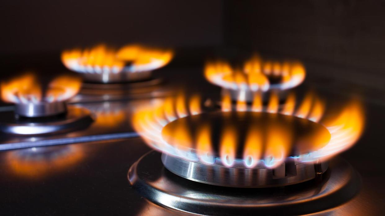 Gas burning in the burner of gas oven.