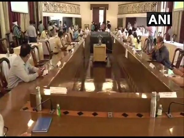 Union Minister Prakash Javadekar participated in a review meeting over COVID-19 situation, in Pune [Photo/ANI]