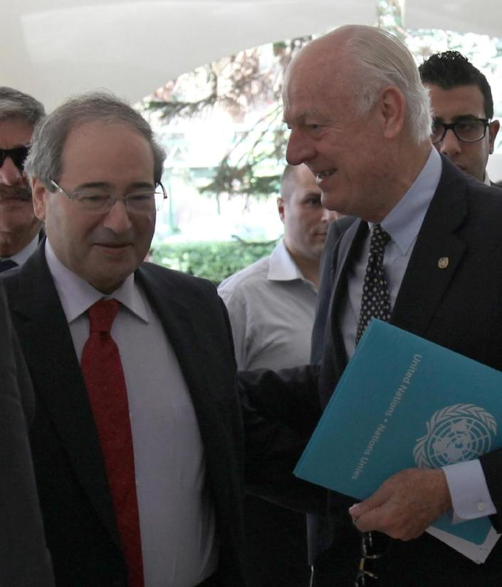 Syrian Deputy Foreign Minister Faisal Moqdad (L), pictured with United Nations special envoy for Syria Staffan de Mistura on September 17, 2015, insisted November 30 his nation has used chemical weapons in its ongoing civil war (AFP Photo/)