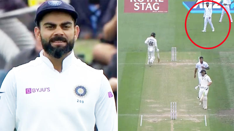 Virat Kohli, pictured here being admonished by the umpire in the second Test against New Zealand.