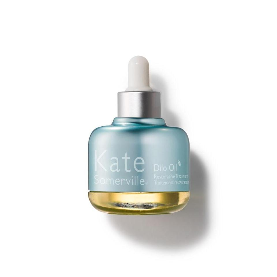 "<p>Instantly hydrate and boost elasticity with this do-it-all <a href=""https://www.allure.com/review/kate-somerville-dilo-oil-restorative-treatment?mbid=synd_yahoo_rss"" rel=""nofollow noopener"" target=""_blank"" data-ylk=""slk:Kate Somerville Dilo Oil Restorative Treatment"" class=""link rapid-noclick-resp"">Kate Somerville Dilo Oil Restorative Treatment</a>. The elixir contains pumpkin seed extract, omegas 3, 6, and 9, and the Fiji-based dilo oil to fortify the skin's lipid layer.</p> <p><strong>$65</strong> (<a href=""https://www.amazon.com/Kate-Somerville-Dilo-Restorative-Treatment-1/dp/B00DTXMQ4S"" rel=""nofollow noopener"" target=""_blank"" data-ylk=""slk:Shop Now"" class=""link rapid-noclick-resp"">Shop Now</a>)</p>"