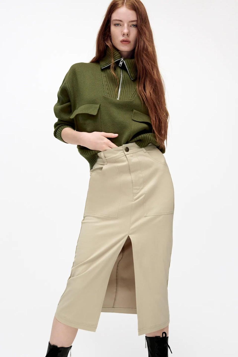 <p>This <span>Straight Cut Midi Skirt</span> ($40) is professional enough for the office, but you can easily edge it up for nighttime wear. Just swap the long-sleeved top with a fitted bustier bodysuit and you'll transform into the sexiest person in the room.</p>