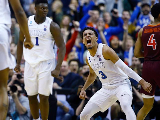 Tre Jones, Zion Williamson and Duke barely survived Virginia Tech in the Sweet 16. (AP)