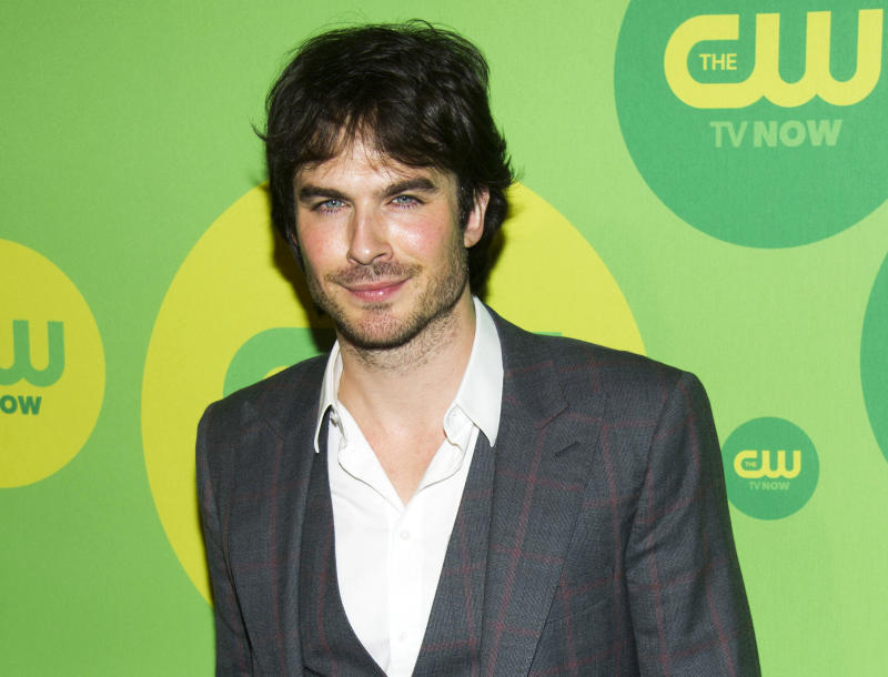 """Ian Somerhalder, from """"The Vampire Diaries,"""" attends the CW Upfront on Thursday, May 16, 2013 in New York. (Photo by Charles Sykes/Invision/AP)"""