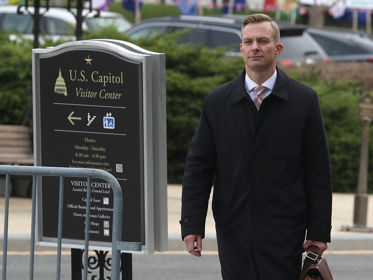 David Holmes, counselor for political affairs at the U.S. Embassy in Ukraine, walks to a closed-door deposition at the Capitol, Nov. 15, in Washington, D.C. (Photo: Mark Wilson/Getty Images)