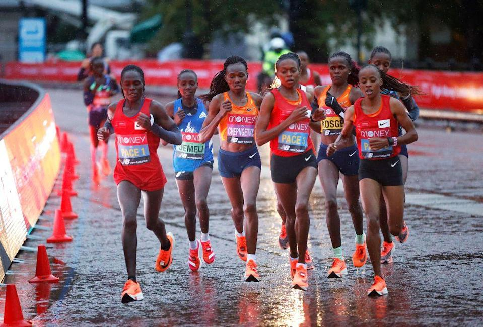 <p>The elite women's pacemakers and leaders early in the race</p>