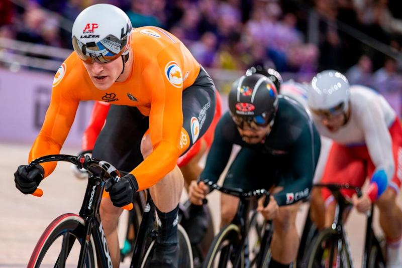 Netherlands Jeffrey Hoogland competes in the Mens Kerin quarter final race at the UCI track cycling World Championship at the velodrome in Berlin on February 27 2020 Photo by Odd ANDERSEN AFP Photo by ODD ANDERSENAFP via Getty Images