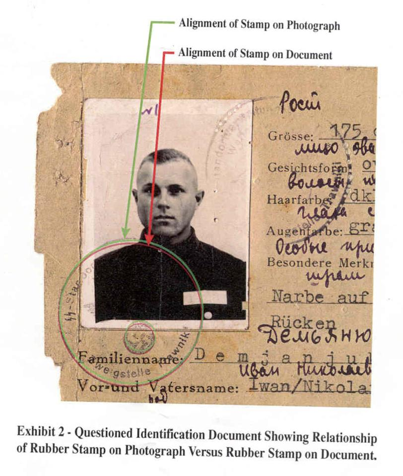 FILE - This image released by the U.S. Department of Justice in Washington on Thursday, Feb. 21, 2002 shows annotations made by the Department of Justice on a section of a World War II-era SS identity card from the Trawniki training camp alleged to have belonged to John Demjanjuk. German police say sentenced Nazi criminal John Demjanjuk died Saturday March 17, 2012 at a home for the elderly in southern Germany where he has stayed since his trial ended in Munich last year. (AP Photo/Department of Justice)