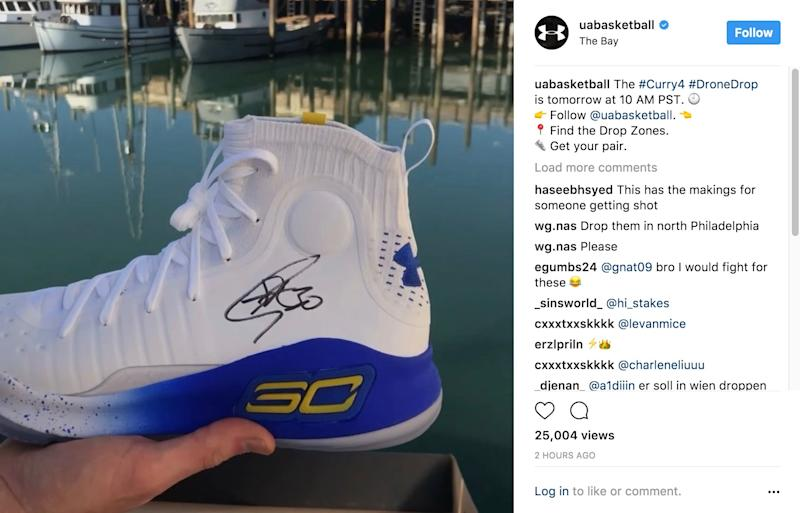 2d0f64aaea5 Under Armour plans to drop free Curry 4s from drones