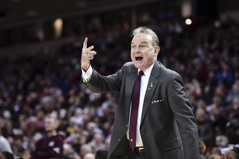 FILE - In this Jan. 20, 2020, file photo, Mississippi State coach Vic Schaefer shouts at an official during the first half of an NCAA college basketball game against South Carolina in Columbia, S.C. Schaefer took Mississippi State to the national championship game twice before returning home to Texas as coach of the Longhorns. (AP Photo/Sean Rayford, File)