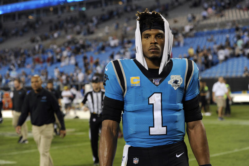 FILE - In this Sept. 13, 2019, file photo, Carolina Panthers quarterback Cam Newton (1) walks off the field following the Panthers 20-14 loss to the Tampa Bay Buccaneers following an NFL football game in Charlotte, N.C. Cam Newton is a former league MVP and the long-time face of the Panthers franchise. But it's hard not to wonder if his future in Carolina is coming to an end following his recent spate of injuries. (AP Photo/Mike McCarn, File)