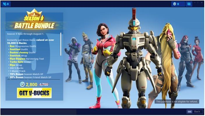Want this Fortnite Battle Bundle, as reproduced in this screenshot from a court filing? Be prepared to pay, but notice that it's nonrefundable.