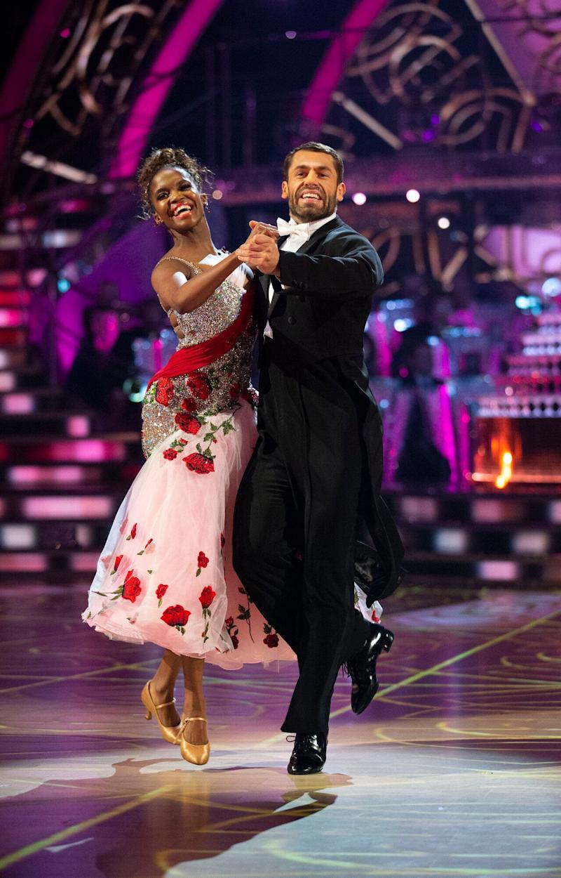 Kelvin Fletcher and Oti Mabuse perform the Quickstep (Photo: BBC/Guy Levy)