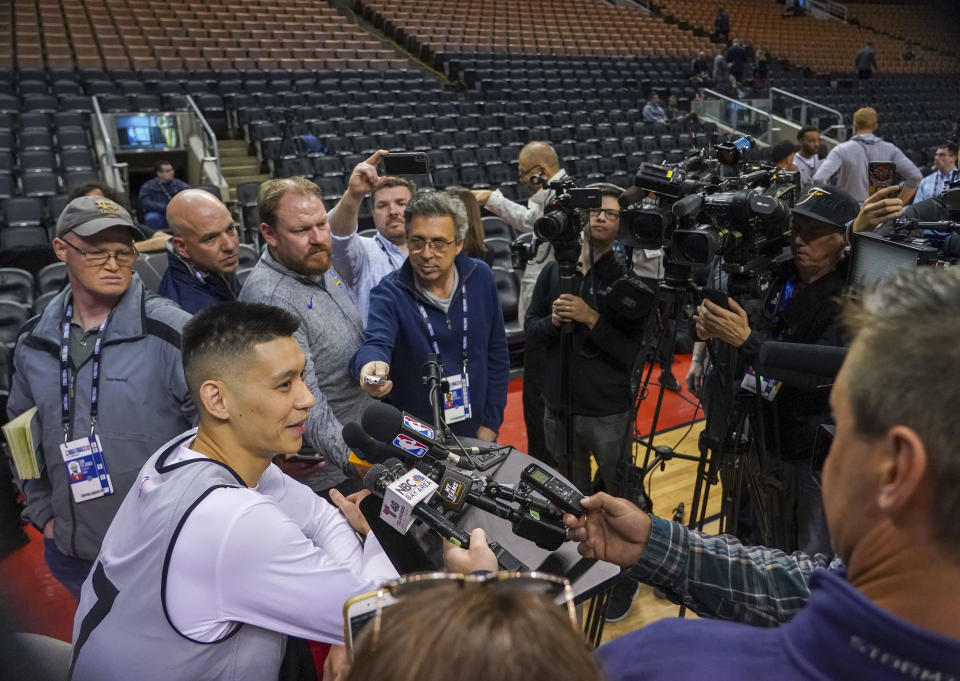 Toronto Raptors guard Jeremy Lin (17) addresses the media during media day for the 2019 NBA Finals at Scotiabank Arena. Mandatory Credit: Kyle Terada-USA TODAY Sports