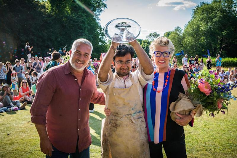 Winner: Paul Hollywood and Leith are seen with 2018 champion Rahul Mandal (Channel 4 / Love Productions)