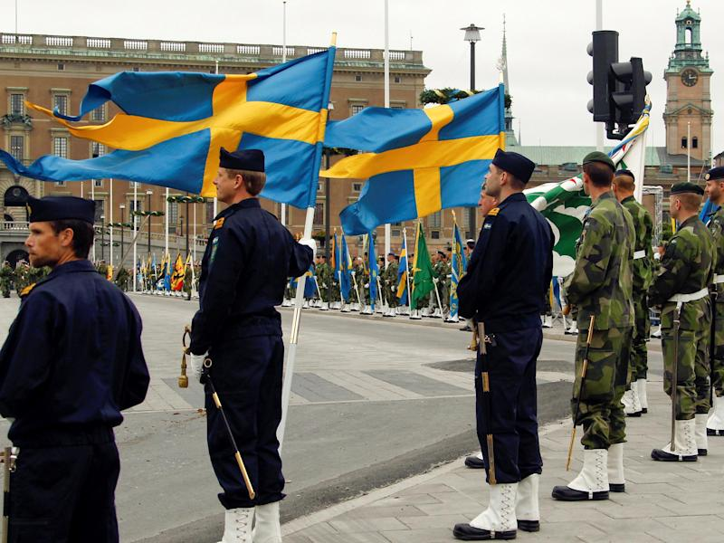 Swedish armed forces soldiers attend a rehearsal in front of the Royal Palace in Stockholm: Reuters
