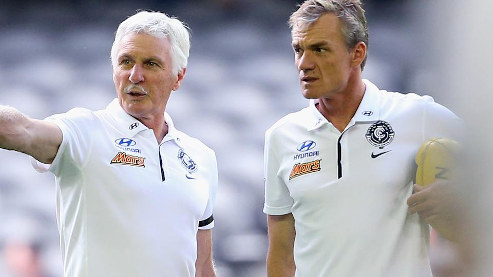 Mick Malthouse and Dean Laidley, pictured here before a Carlton game in 2015.