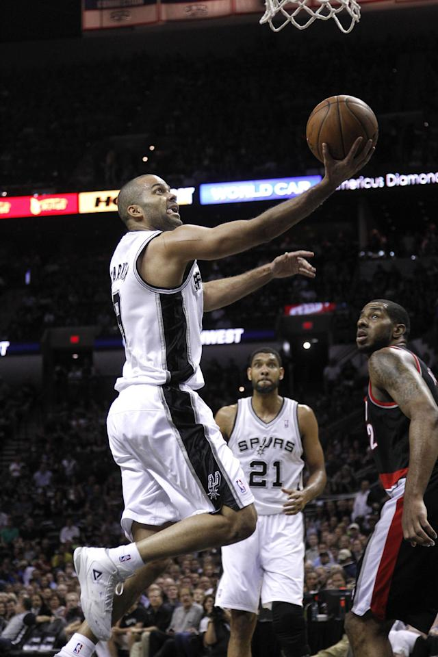 SAN ANTONIO, TX - MAY 6: Tony Parker #9 of the San Antonio Spurs against the Portland Trail Blazers in Game One of the Western Conference Semifinals during the 2014 NBA Playoffs at the AT&T Center on May 6, 2014 in San Antonio, Texas. NOTE TO USER: User expressly acknowledges and agrees that, by downloading and/or using this photograph, user is consenting to the terms and conditions of the Getty Images License Agreement. (Photo by Chris Covatta/Getty Images)