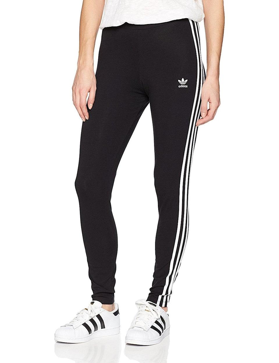 """<p>Is it any surprise these classic <a href=""""https://www.popsugar.com/buy/adidas-Originals-Women-3-Stripes-Leggings-365701?p_name=adidas%20Originals%20Women%27s%203-Stripes%20Leggings&retailer=amazon.com&pid=365701&price=40&evar1=fit%3Aus&evar9=45278643&evar98=https%3A%2F%2Fwww.popsugar.com%2Ffitness%2Fphoto-gallery%2F45278643%2Fimage%2F45278649%2Fadidas-Originals-Women-3-Stripes-Leggings&list1=shopping%2Camazon%2Cworkout%20clothes%2Cleggings%2Cfitness%20gear&prop13=mobile&pdata=1"""" class=""""link rapid-noclick-resp"""" rel=""""nofollow noopener"""" target=""""_blank"""" data-ylk=""""slk:adidas Originals Women's 3-Stripes Leggings"""">adidas Originals Women's 3-Stripes Leggings</a> ($40) have superhigh ratings? One customer said, """"I bought 2 pairs of these because they are my favorite pants in the whole world.""""</p>"""