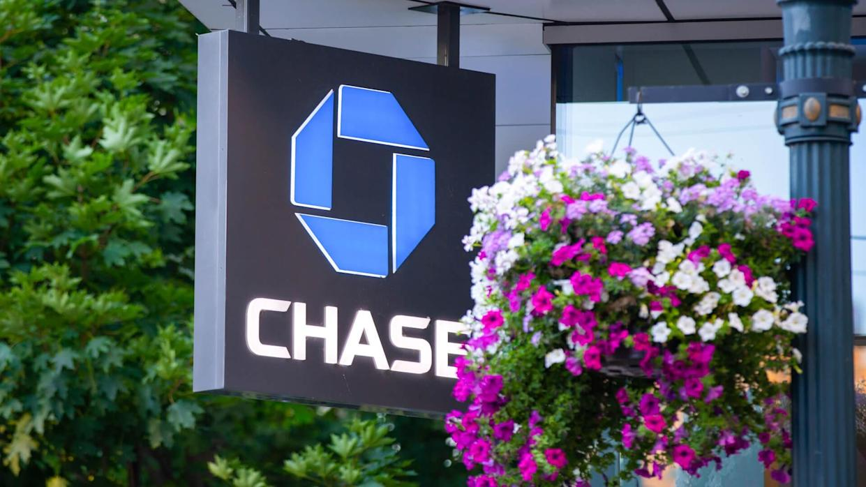 Portland, OR / USA - July 11 2018: Chase bank logo banner on the building.