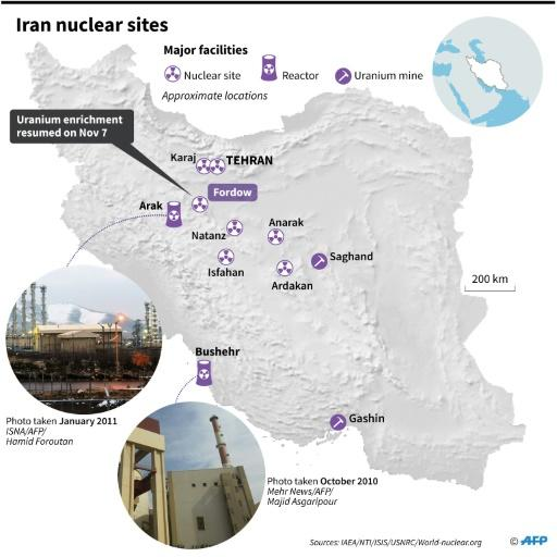 Map of Iran showing main nuclear facilities, including Fordow, where uranium enrichment resumed on Thursday
