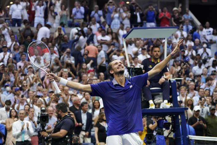 Daniil Medvedev, of Russia, reacts after defeating Novak Djokovic, of Serbia, in the men's singles final of the US Open tennis championships, Sunday, Sept. 12, 2021, in New York. (AP Photo/Elise Amendola)