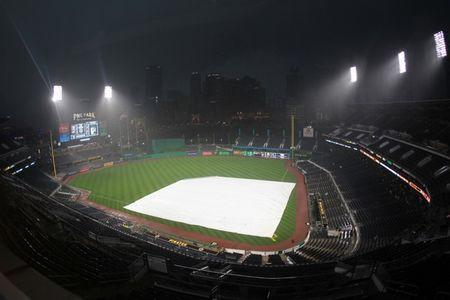 Jun 20, 2018; Pittsburgh, PA, USA; Rain delays the start of the Milwaukee Brewers and Pittsburgh Pirates game at PNC Park. Mandatory Credit: Charles LeClaire-USA TODAY Sports