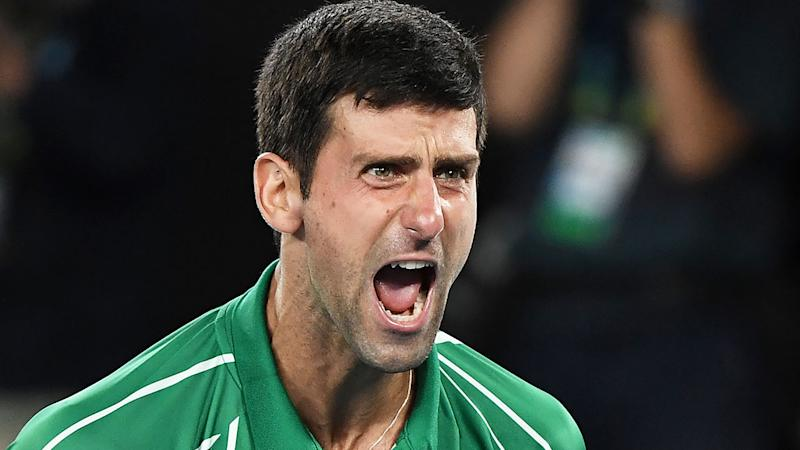 Novak Djokovic celebrates after claiming his eighth Australian Open title. Pic: Getty