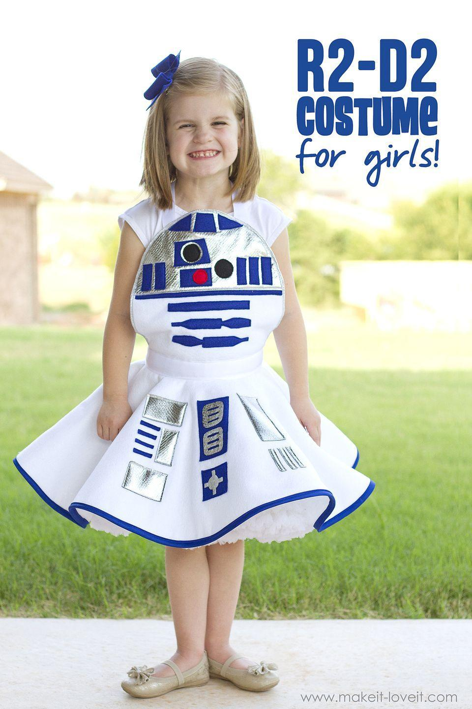 """<p>The force will be with your little one this Halloween when you DIY this adorable skirted R2D2 costume.</p><p><strong>See more at <a href=""""https://makeit-loveit.com/star-wars-r2-d2-dress-costume-for-girls-plus-one-to-give-away"""" rel=""""nofollow noopener"""" target=""""_blank"""" data-ylk=""""slk:Make It & Love It"""" class=""""link rapid-noclick-resp"""">Make It & Love It</a>. </strong></p><p><a class=""""link rapid-noclick-resp"""" href=""""https://go.redirectingat.com?id=74968X1596630&url=https%3A%2F%2Fwww.walmart.com%2Fip%2FHigh-Quality-Acrylic-Felt-by-the-Yard-72-Wide-X-1-YD-Long-White%2F983442763&sref=https%3A%2F%2Fwww.thepioneerwoman.com%2Fholidays-celebrations%2Fg32645069%2F80s-halloween-costumes%2F"""" rel=""""nofollow noopener"""" target=""""_blank"""" data-ylk=""""slk:SHOP WHITE FELT"""">SHOP WHITE FELT</a></p>"""