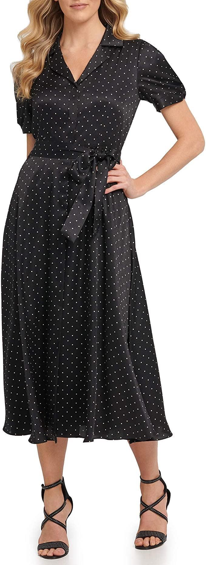 <p>We like that the polka-dot print on this <span>DKNY Knot Sleeve Midi Shirt Dress</span> ($59-$78) is very subtle, giving it an understated elegance. The sheen material also makes it look polished for a fancy event.</p>
