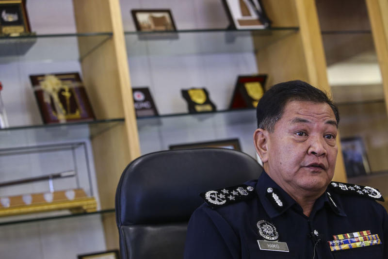 Inspector-General of Police Datuk Seri Abdul Hamid Bador answers questions during an interview with Malay Mail at his office in Bukit Aman Kuala Lumpur July 17, 2019. — Pictures by Hari Anggara