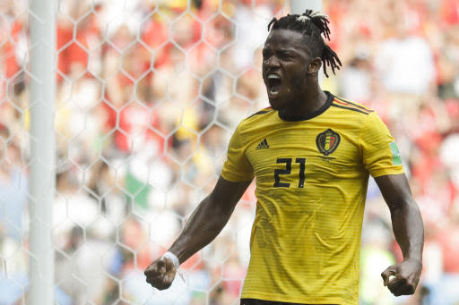 Belgium's Michy Batshuayi celebrates after scoring his side's fifth goal during the group G match between Belgium and Tunisia at the 2018 soccer World Cup in the Spartak Stadium in Moscow, Russia, Saturday, June 23, 2018. (AP Photo/Matthias Schrader)