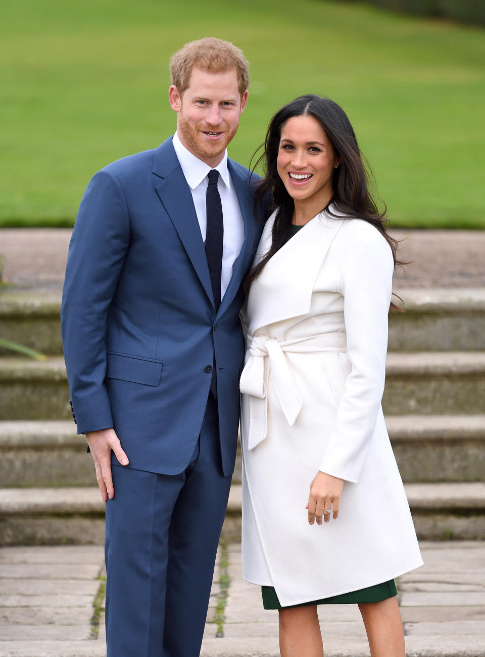 LONDON, ENGLAND - NOVEMBER 27:  (EMBARGOED FOR PUBLICATION IN UK NEWSPAPERS UNTIL 24 HOURS AFTER CREATE DATE AND TIME) Prince Harry and Meghan Markle attend an official photocall to announce the engagement of Prince Harry and actress Meghan Markle at The Sunken Gardens at Kensington Palace on November 27, 2017 in London, England.  Prince Harry and Meghan Markle have been a couple officially since November 2016 and are due to marry in Spring 2018.  (Photo by Karwai Tang/WireImage)