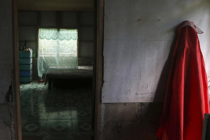 This Jan. 25, 2019, photo shows a room that was gifted to a former altar boy who has accused Father Pius Hendricks of sexual abuse in the village of Talustusan on Biliran Island in the central Philippines. (AP Photo/Bullit Marquez)