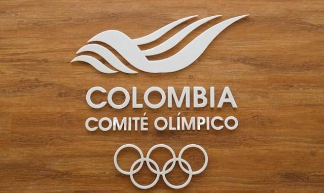 The logo of the Colombian Olympic Committee is seen in Bogota