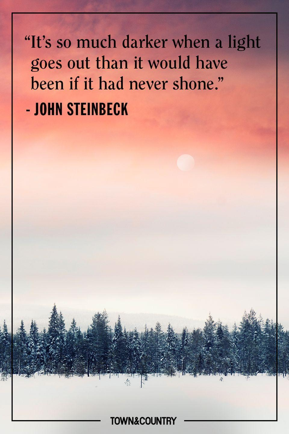 """<p>""""It's so much darker when a light goes out than it would have been if it had never shone.""""</p><p>– John Steinbeck</p>"""