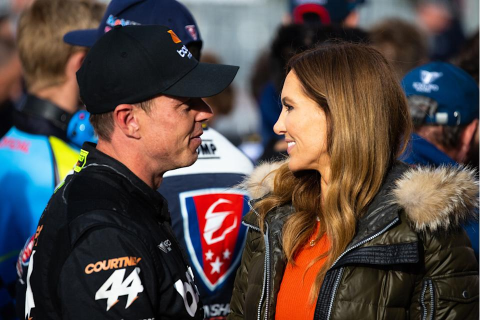 James Courtney driver of the #44 Boost Mobile Ford Mustang and Kyly Clarke are pictured after the  Bathurst 1000 at Mount Panorama on October 18, 2020 in Bathurst, Australia.