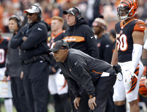 FILE - In this Sunday, Oct. 28, 2018, file photo, Cincinnati Bengals head coach Marvin Lewis watches during the first half of an NFL football game against the Tampa Bay Buccaneers in Cincinnati. The Bengals have allowed more than 500 yards in each of the last two games. No NFL team has even given up three straight 500-yard games. (AP Photo/Frank Victores, File)