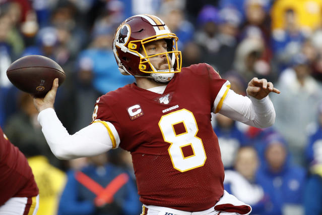 Washington Redskins quarterback Case Keenum throws a pass against the New York Giants during the second half of an NFL football game, Sunday, Dec. 22, 2019, in Landover, Md. (AP Photo/Patrick Semansky)