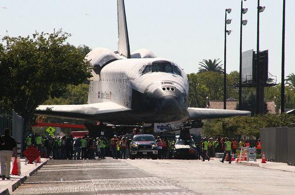 Space shuttle Endeavour is seen poised to enter the Samuel Oschin Space Shuttle Display Pavilion at the California Science Center, Oct. 14, 2012.
