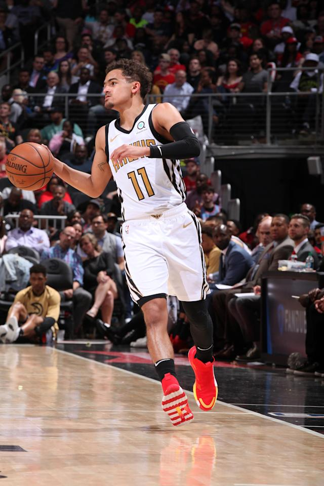 ATLANTA, GA - APRIL 10: Trae Young #11 of the Atlanta Hawks handles the ball against the Indiana Pacers on April 10, 2019 at State Farm Arena in Atlanta, Georgia. (Photo by Jasear Thompson/NBAE via Getty Images)