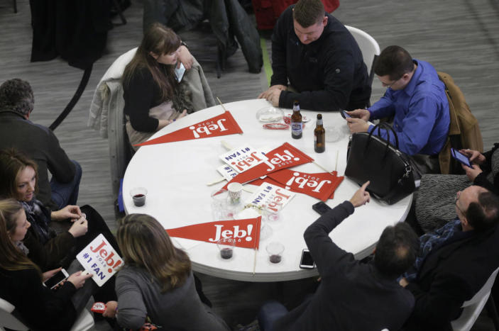 <p>Supporters for Republican presidential candidate former Florida Gov. Jeb Bush wait around a table during a primary-night rally on Feb. 9, 2016, in Manchester, N.H. (Steven Senne/AP)</p>